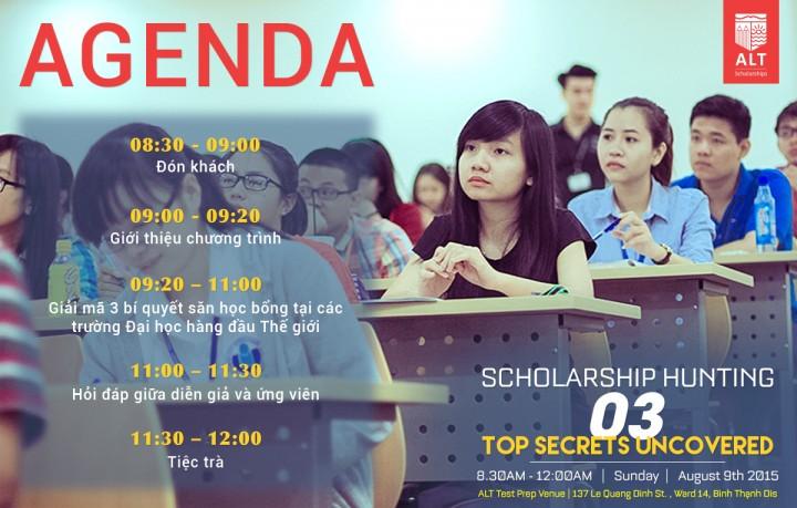 Chi tiết chương trình hội thảo: Scholarship Hunting - The three top secrets uncovered
