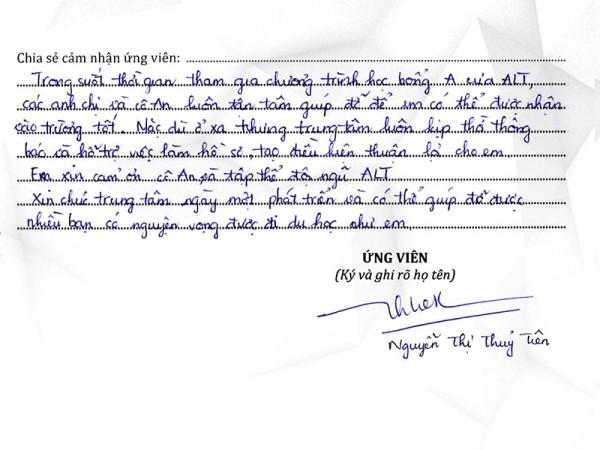 Ứng viên thành công ALT | Nguyễn Thị Thủy Tiên