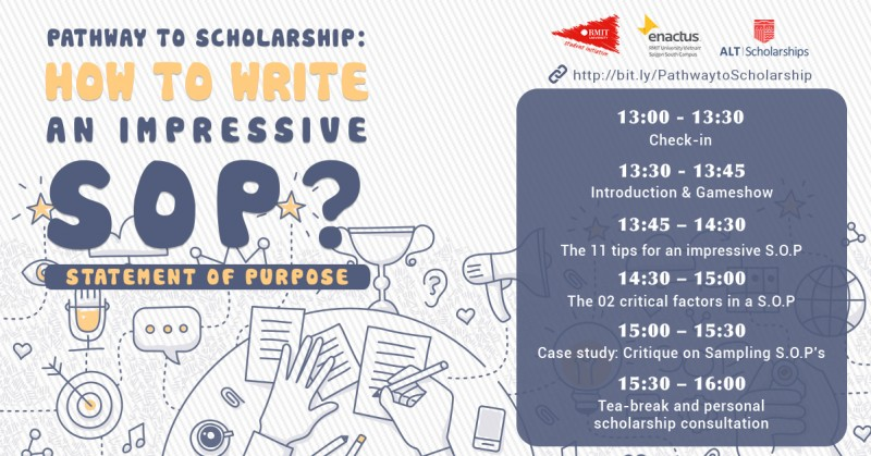 "Nội dung chính của buổi hội thảo ALT - RMIT "" Pathway to scholarship: How To Write An Impressive SOP ( Statement of Purpose )? """
