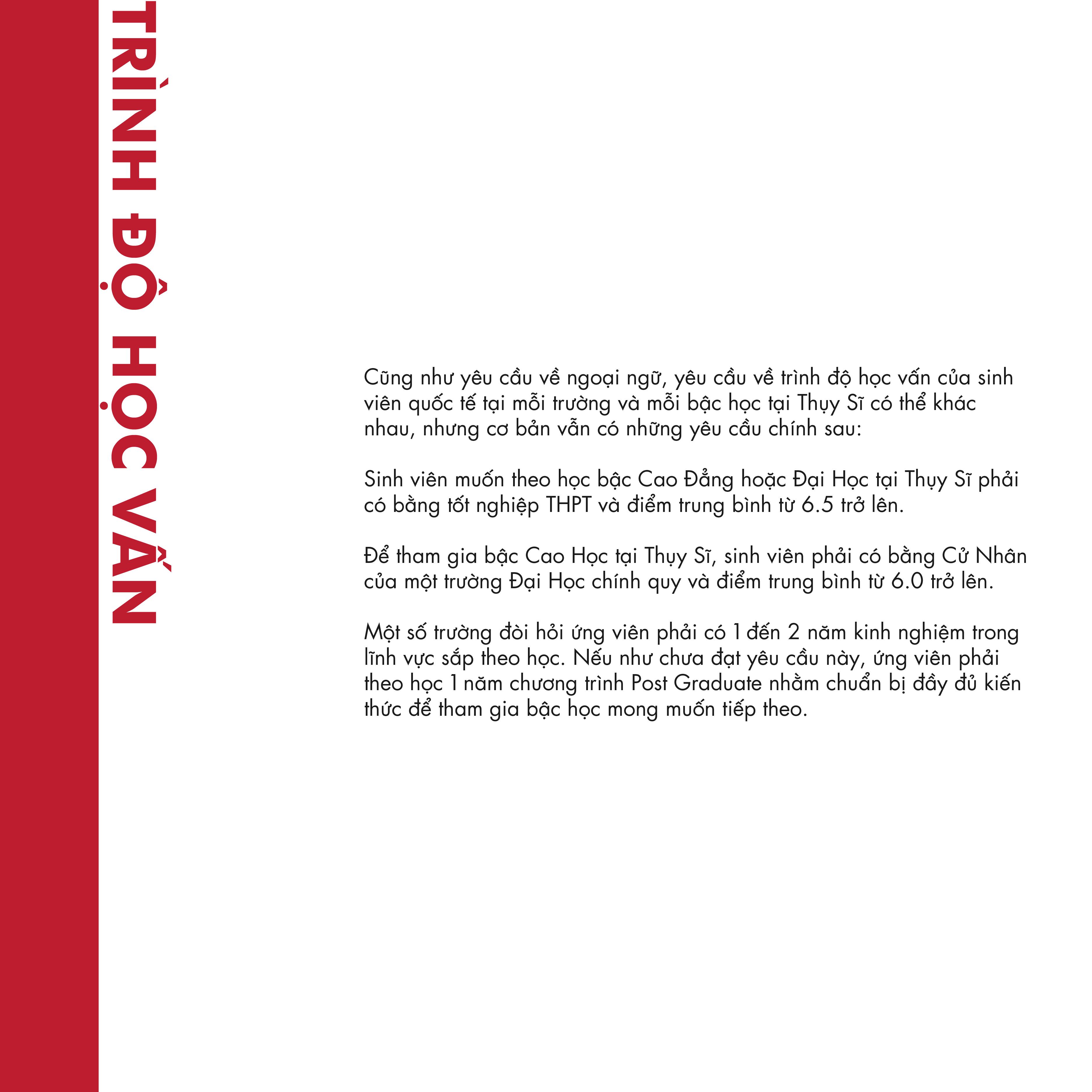 điều kiện đi du học Thụy Sĩ