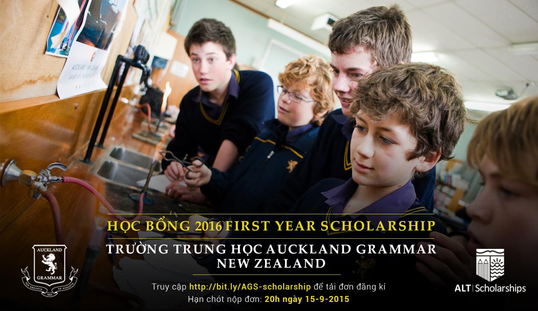 Học Bổng First Year Scholarship 2016 Trường Trung Học Phổ Thông Auckland Grammar New Zealand