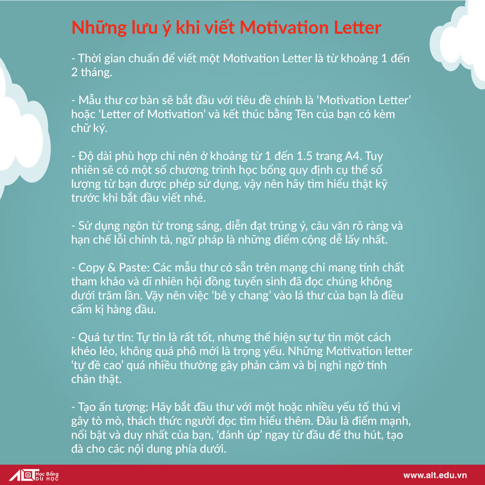 Những lưu ý khi viết motivation letter