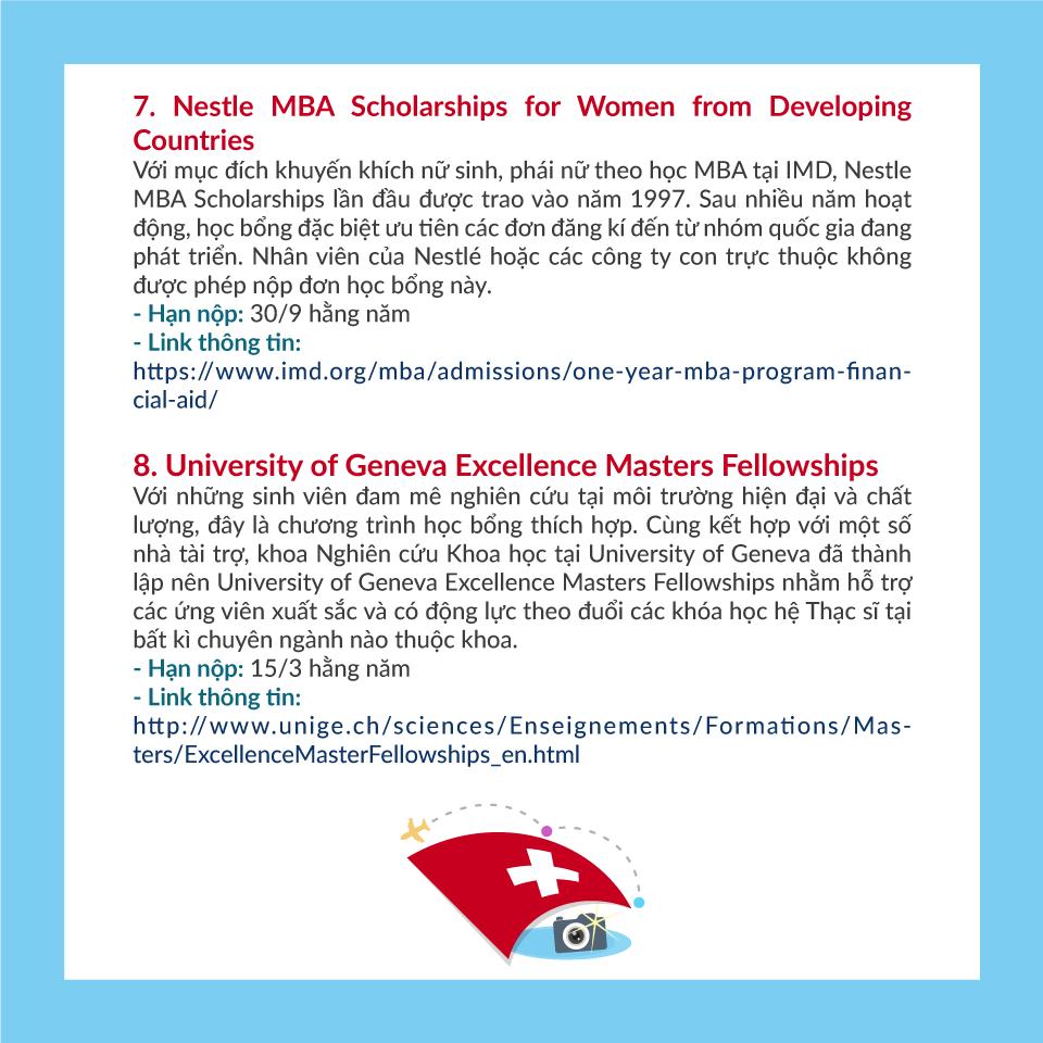 9 học bổng du học Thụy Sĩ cho sinh viên